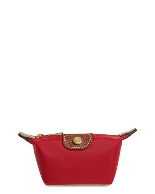 Longchamp - Red 'le Pliage' Coin Purse - Lyst