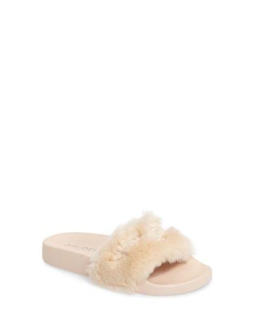 J/Slides | Natural Samantha Faux Fur Slide | Lyst