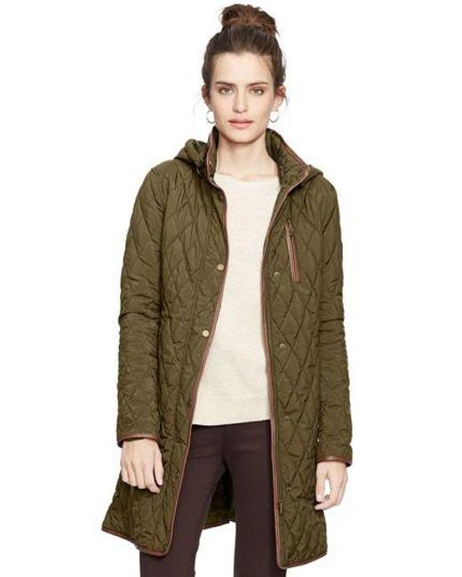 Lauren by Ralph Lauren   Green Faux Leather Trim Quilted Coat   Lyst