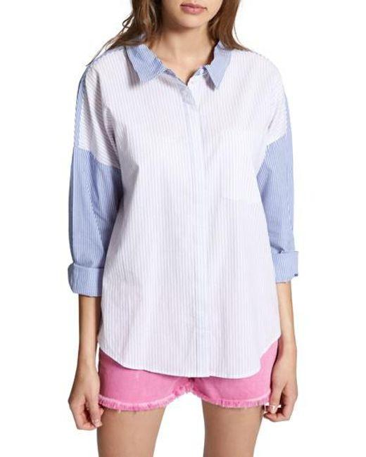 Sanctuary - Blue Tie Back Mixed Stripe Boyfrend Shirt - Lyst