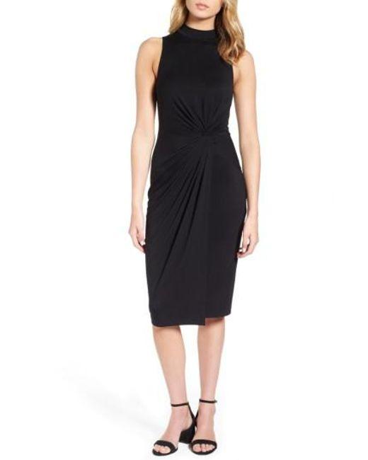 Soprano - Black Twist Front Body-con Dress - Lyst