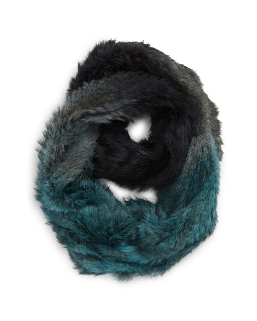 Jocelyn Blue Genuine Rabbit Fur Infinity Scarf