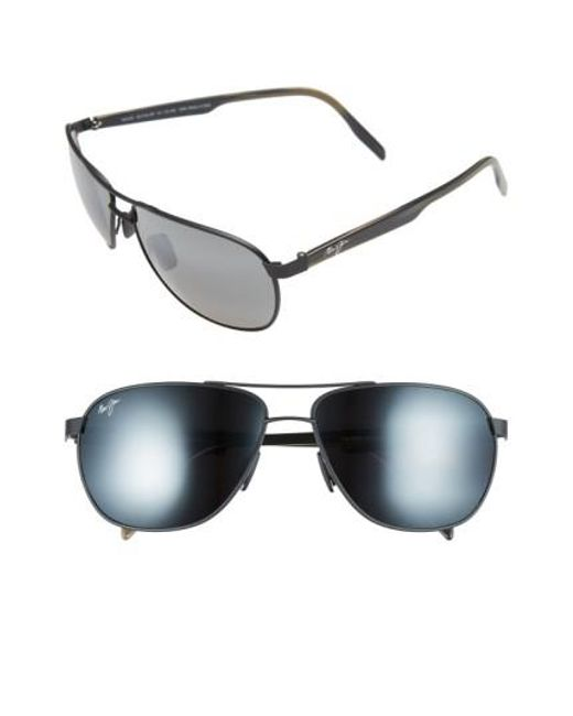 Maui Jim - Gray 'castles - Polarizedplus2' 61mm Aviator Sunglasses for Men - Lyst
