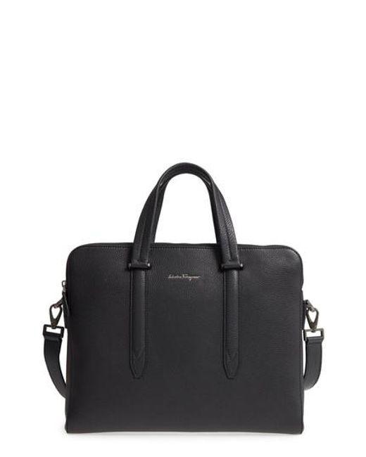 Ferragamo - Black Firenze Leather Briefcase for Men - Lyst