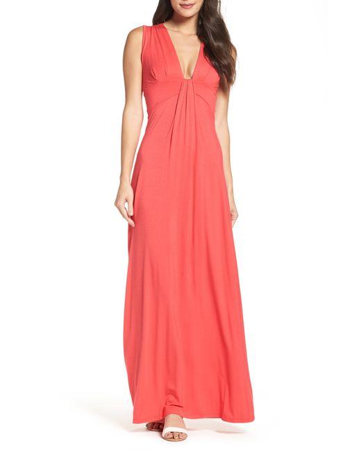 bd2db22891 Lyst - Fraiche By J V-Neck Jersey Maxi Dress in Black - Save 40%
