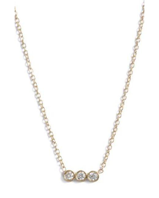 Zoe Chicco - Metallic Diamond Bezel Pendant Necklace - Lyst