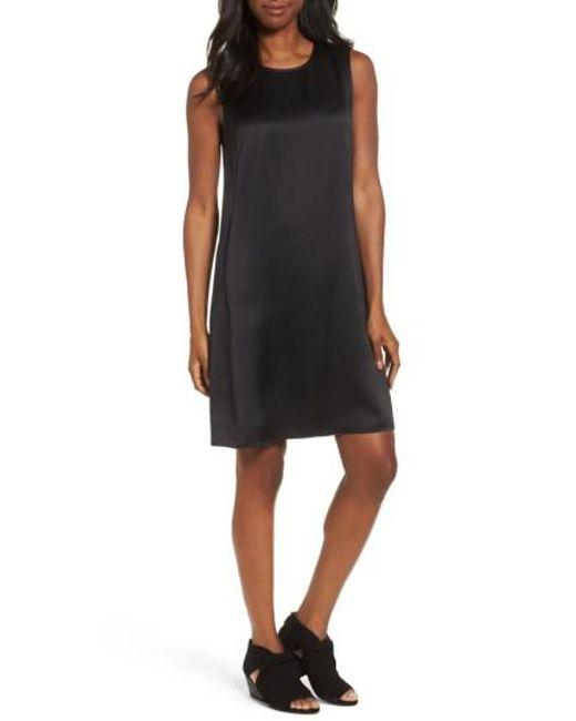 Eileen Fisher | Black Silk Shift Dress | Lyst