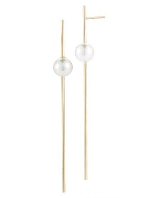 Mizuki   White Sea Of Beauty Linear Drop Pearl Earrings   Lyst