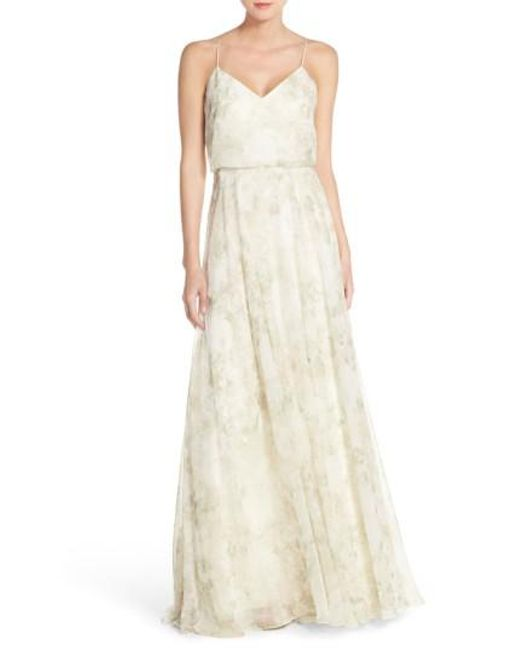 Jenny Yoo | Pink Inesse V-neck Chiffon Gown | Lyst