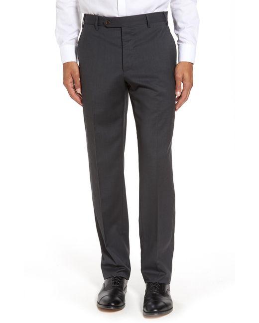 Zanella - Gray Devon Flat Front Solid Wool Trousers for Men - Lyst