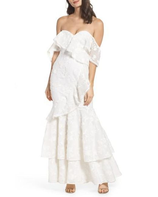 Keepsake - White Shine Off The Shoulder Lace Gown - Lyst