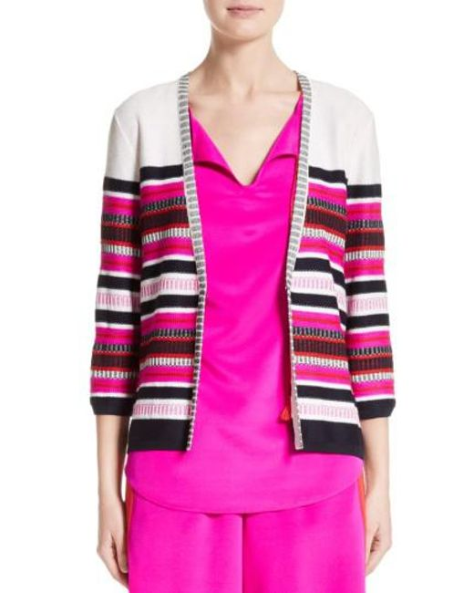 St. John | Pink Jacquard Weave Stitch Cardigan | Lyst