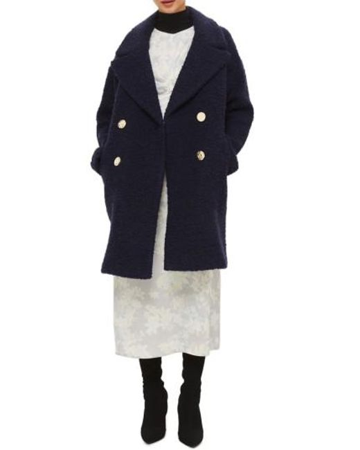 TOPSHOP | Blue Alicia Boucle Slouch Coat | Lyst