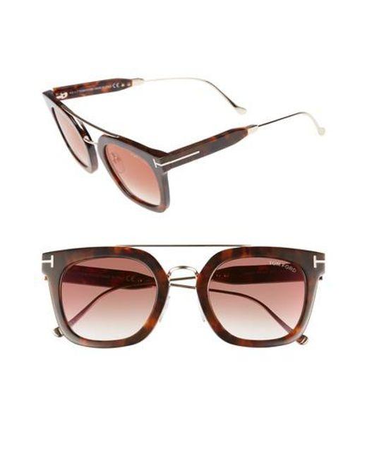 Tom Ford   Multicolor Alex 51mm Sunglasses - Havana/ Bordeaux Mirror   Lyst
