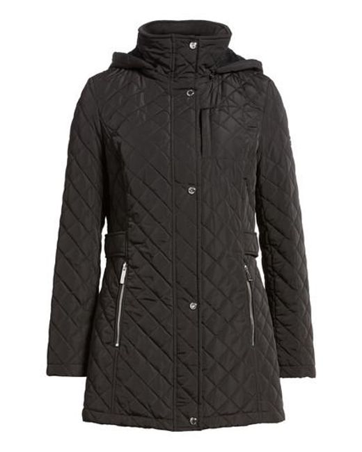 Calvin Klein | Black Hooded Quilted Jacket | Lyst