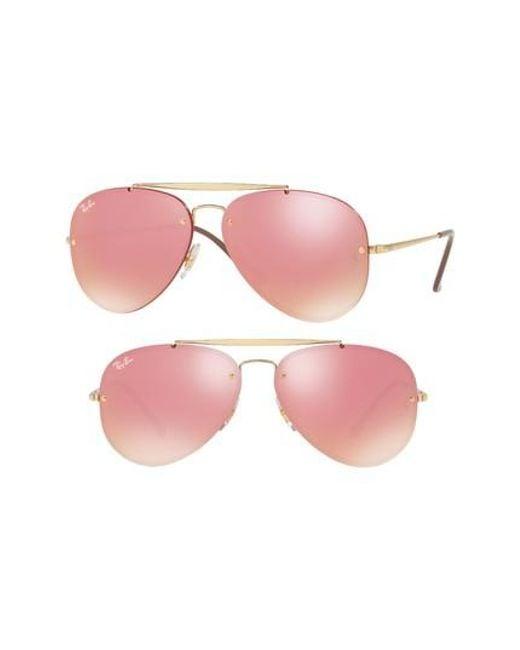 Ray-Ban | Pink 61mm Mirrored Lens Aviator Sunglasses | Lyst