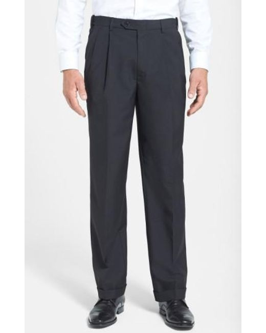 Berle - Black Self Sizer Waist Pleated Wool Gabardine Trousers for Men - Lyst