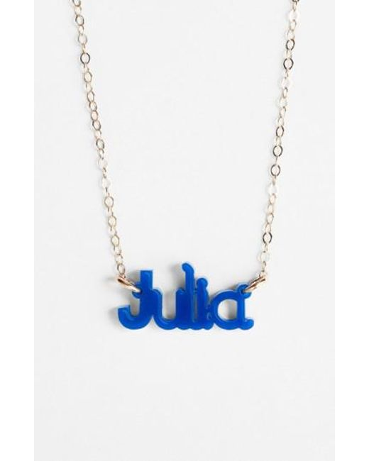 Moon & Lola | Blue 'zebra Block Font' Personalized Nameplate Pendant Necklace | Lyst