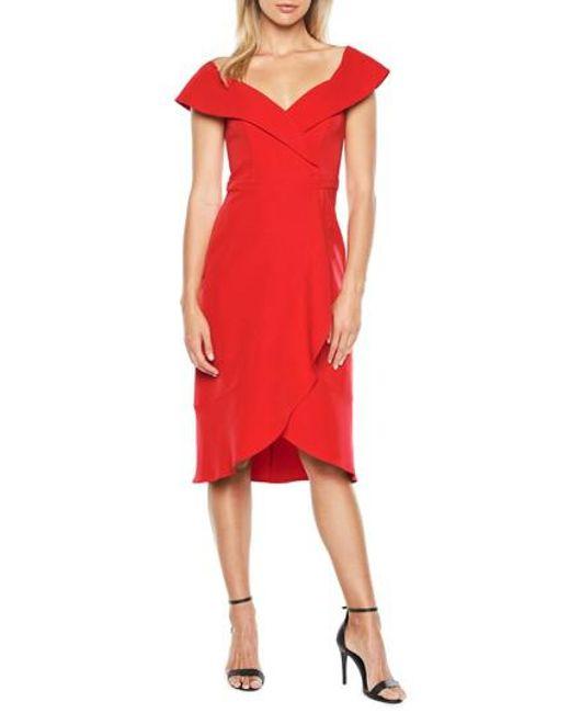 Bardot - Red Bella Tulip Hem Dress - Lyst