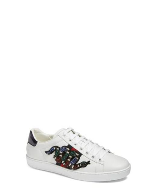 Gucci - White New Age Snake Embellished Sneaker - Lyst