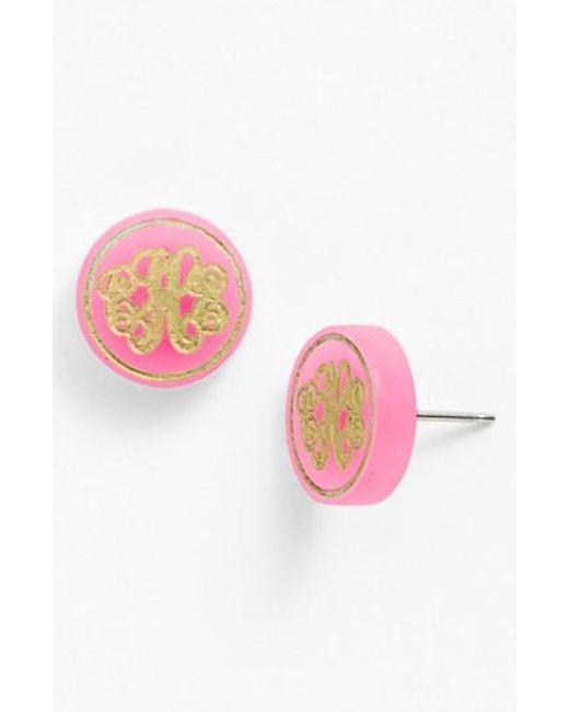 Moon & Lola | Pink 'chelsea' Small Personalized Monogram Stud Earrings (nordstrom Exclusive) | Lyst