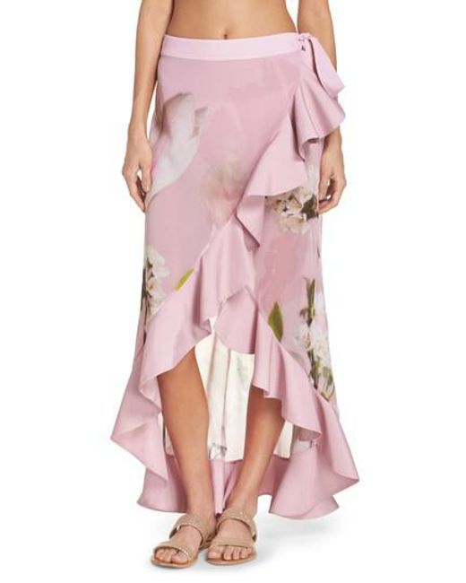 58a1332833a3f Lyst - Ted Baker Harmony Cover-up Skirt in Pink