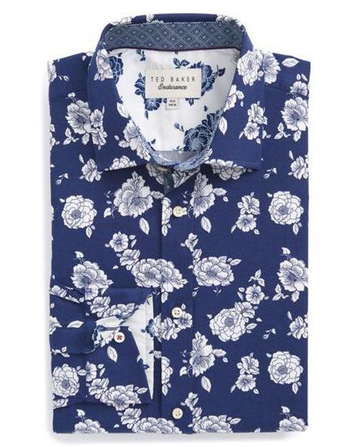 Ted Baker | Blue Trim Fit Floral Dress Shirt for Men | Lyst