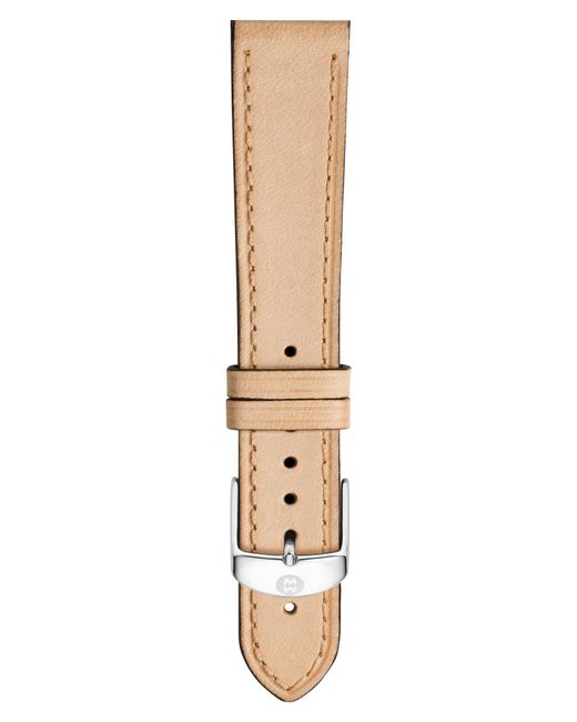 Michele - Natural 18mm Leather Watch Strap - Lyst