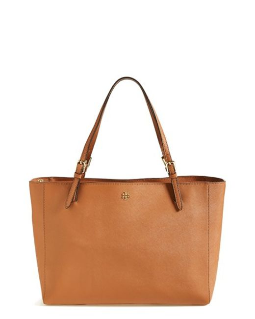 Tory Burch | Brown York Saffiano-Leather Tote | Lyst