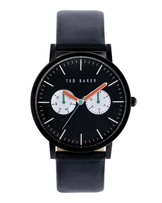 Ted Baker | Black Multifunction Leather Strap Watch for Men | Lyst