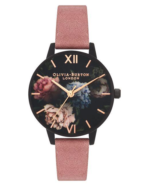 Olivia Burton - Black After Dark Leather Strap Watch - Lyst