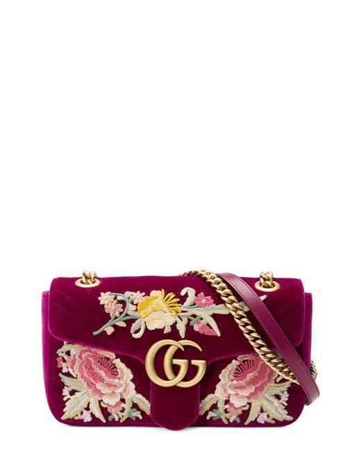 e87eb3df876 Gucci - Purple Small Gg Marmont 2.0 Matelassé Velvet Shoulder Bag - Lyst ...