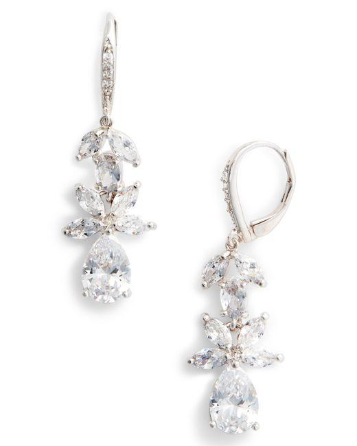 Nina - Metallic Floral Cubic Zirconia Earrings - Lyst