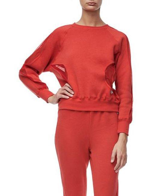 GOOD AMERICAN | Red Good Sweats Mesh Inset Sweatshirt | Lyst