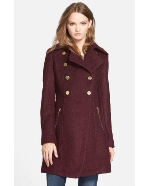 Guess | Purple Double Breasted Boucle Cutaway Coat | Lyst