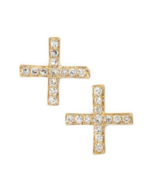 EF Collection - Metallic Diamond X Stud Earrings - Lyst