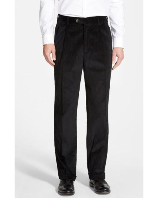 Berle | Black Pleated Corduroy Trousers for Men | Lyst