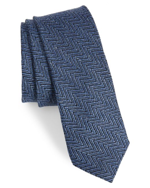 Ted Baker - Blue Chevron Silk & Linen Tie for Men - Lyst