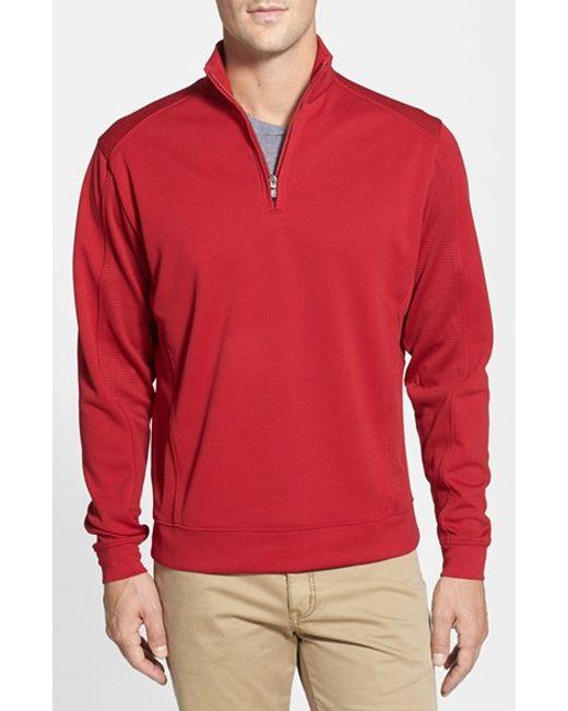 Cutter & Buck | Red Drytec Half Zip Pullover for Men | Lyst