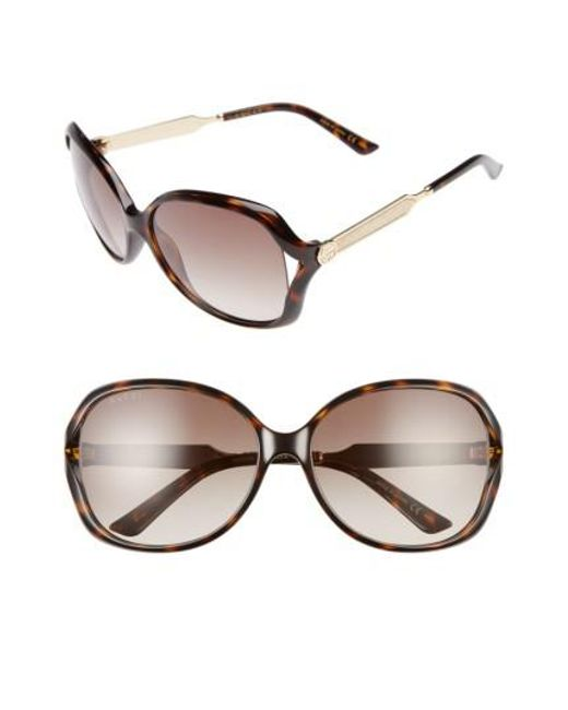 Gucci - 60mm Open Temple Oval Sunglasses - Havana/ Brown - Lyst
