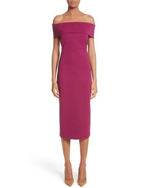 Cushnie et Ochs - Purple Off The Shoulder Pencil Dress - Lyst