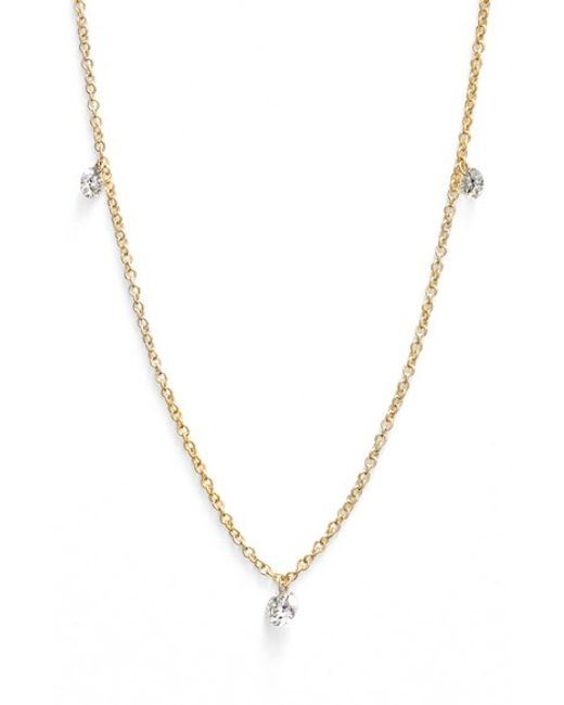 Bony Levy | Yellow 'floating Diamond' 3-diamond Necklace (nordstrom Exclusive) | Lyst