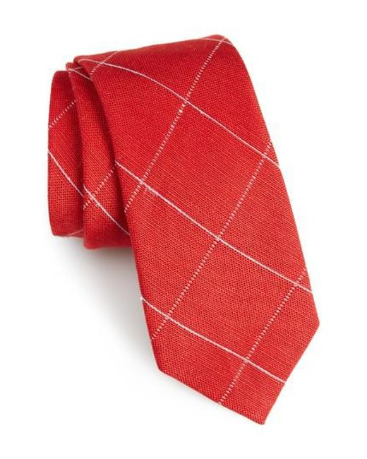 Calibrate | Red Candler Grid Linen & Silk Tie for Men | Lyst