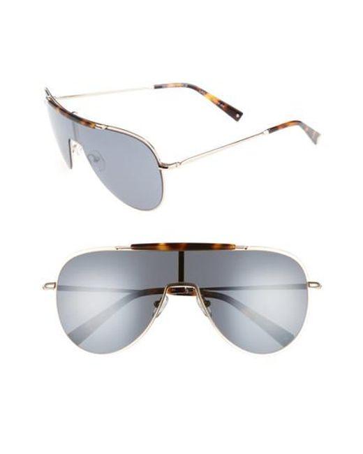 Kendall + Kylie | Metallic Shield Aviator Sunglasses - Dark Tort/ Classic Gold | Lyst