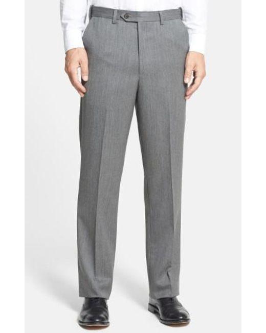 Berle | Gray Self Sizer Waist Flat Front Wool Gabardine Trousers for Men | Lyst