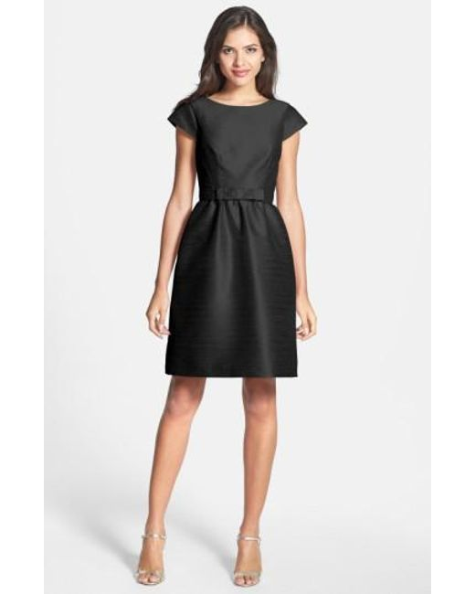 Alfred Sung | Black Woven Fit & Flare Dress | Lyst