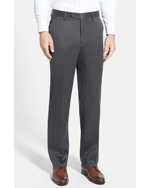 Berle | Gray Flat Front Wool Gabardine Trousers for Men | Lyst