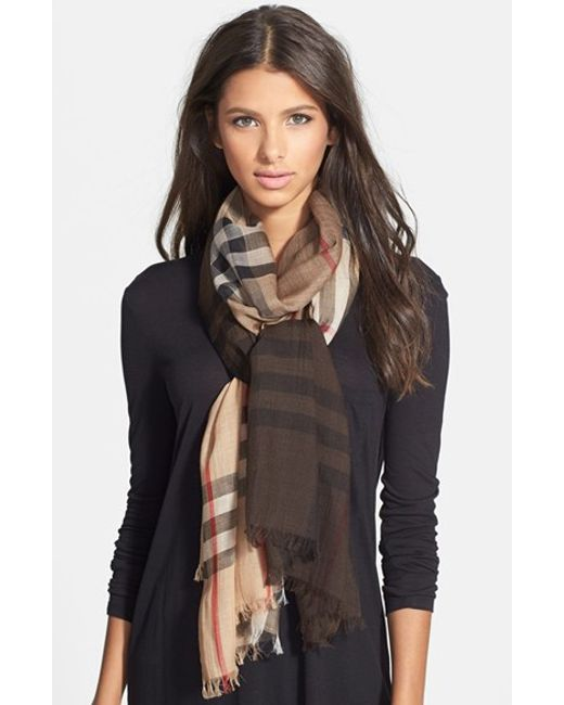 Burberry | Brown Ombre Check Wool & Silk Scarf | Lyst