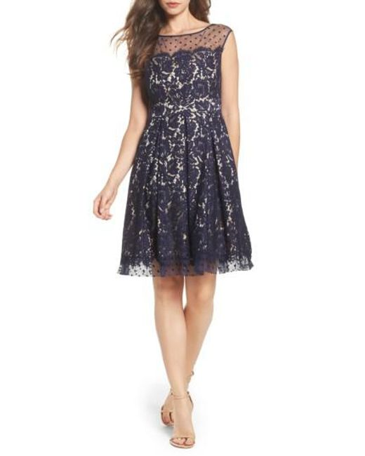 Eliza J | Blue Illusion Yoke Lace Fit & Flare Dress | Lyst