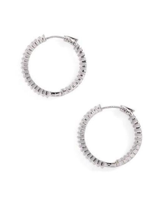 CZ by Kenneth Jay Lane | Metallic Inside Out Hoop Earrings | Lyst